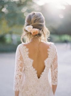 The Patchouli wedding dress marries bohemian romance with classic simplicity. Re-embroidered lace in a linear floral pattern makes a very flattering silhouet... #weddinghairstyles