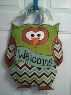 Owl Burlap Door Hanger by HappyBURLAPpyDesigns on Etsy, $40.00
