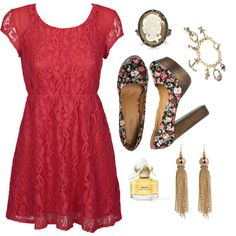 i have a similar dress in pink, love the shoes and accessories
