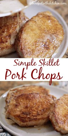 Simple Skillet Pork Chops are going to change the way you think of pork chops! get the recipe at barefeetinthekitc… Simple Skillet Pork Chops are going to change the way you think of pork chops! get the recipe at barefeetinthekitc… Stove Top Pork Chops, Oven Pork Chops, Skillet Pork Chops, Cooking Pork Chops, Pan Fried Pork Chops, Baked Pork, Fried Boneless Pork Chops, Easy Pork Chop Recipes, Pork Recipes
