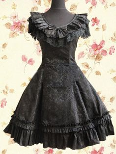 Sweet Black Satin Cotton Bowknot Women Lolita Dress on www.ueelly.com