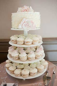 big wedding cakes Classic White Wedding Cake with Cupcakes in Lace Wrappers - 18 Floral Spring Wedding Cake Ideas Romantic Weddings, Unique Weddings, Romantic Ideas, Vintage Weddings, Wedding Cakes With Cupcakes, Giant Cupcakes, Spring Wedding Cupcakes, Lace Cupcakes, Spring Cake