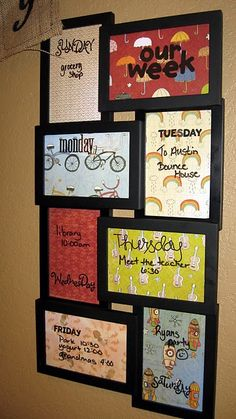 Weekly Calendars using picture frames with scrapbook paper and dry erase markers. What a step up from a regular calendar.