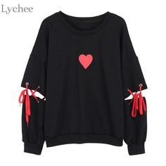 Lychee Spring Autumn Women Sweatshirt Heart Print Lace Up Casual Loose – eefury