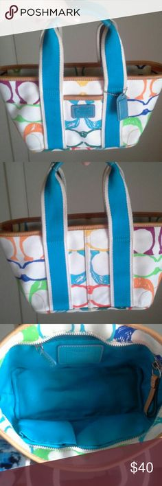 LIKE NEW Coach Scribble tote Coach Scribble super cute little tote that was used only once. Coach Bags Totes
