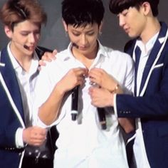 "Remember that one time Chanyeol and Sehun tried to ""help"" Tao with his shirt? They are my heroes ❤️"