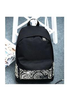 ILife National Ethnic Printing Patchwork Canvas Backpack Schoobag School Bag for Teenagers Mochila Rucksack Black   Lazada PH