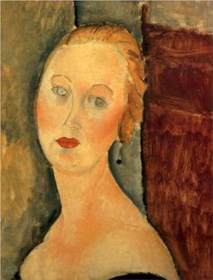 Germaine Survage with Earrings by Amedeo Modigliani, 1918. The Museum of Fine Arts of Nancy, France.