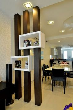 Partitions wooden beams dark shelf white kitchen living
