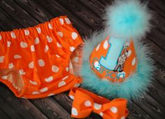 Boys Birthday Party Hat, Diaper Cover and Bow Tie - Perfect for First Birthday, Smash Cake Pics, Photo Prop - Orange and Aqua Giraffe