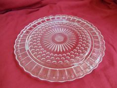 Vtg Depression Clear Glass Dessert Pastry/Cake Plate Pedestal Flower Pattern