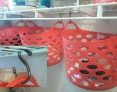 To get double the storage space, use S-hooks and dollar store baskets.
