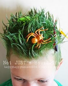 Great idea for crazy hair day at school!!  Even better if it coincided with the insect unit!