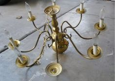 DIY spray paint a brass chandelier (This weekend for G's room)