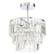 Belle 3 Light Ceiling Chandelier Flush Fitting   The Belle 3 Light Flush Fitting makes a beautiful feature of any room, high quality and functional light fitting that adds elegance in any bathroom with its crystal chisel cut bars. Manufactured from steel and glass the light fitting comes in a chrome and clear glass finish and is IP44 rated.