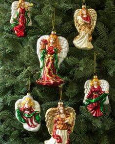 Bestow your tree with celestial charm through Balsam Hill's Glass Angel Ornament Set.