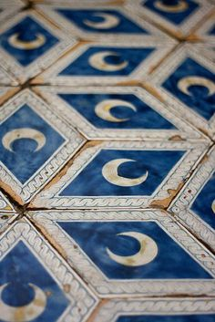 Blue, Gold, and Taupe Crescent Moon Tiles | Jehane