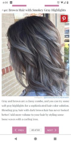 Beautiful Hair Color, Cool Hair Color, Brunette Hair Color With Highlights, Brown Highlights, Grey Hair Looks, Ashy Hair, Sophisticated Hairstyles, Covering Gray Hair, Transition To Gray Hair