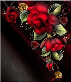 Beautiful Red Roses and Black ~~J Wallpaper For Your Phone, Cellphone Wallpaper, Flower Wallpaper, Wallpaper Backgrounds, Iphone Wallpaper, Beautiful Flowers Wallpapers, Beautiful Rose Flowers, Beautiful Things, Art Floral