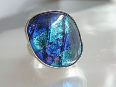 Vintage Artisan Sterling Silver 925 Cobalt Blue Purple Fused Glass HEAVY Ring #Cocktail