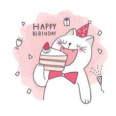 Happy Birthday Greetings Friends, Happy Birthday Art, Happy Birthday Wishes Cards, Bday Cards, Kids Birthday Cards, Cat Birthday, Happy Birthday Images, Birthday Greeting Cards, Birthday Cake