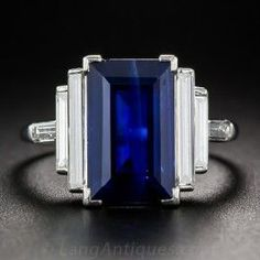 awesome Natural 5.00 Carat Emerald-Cut Sapphire and Long Baguette Diamond Ring