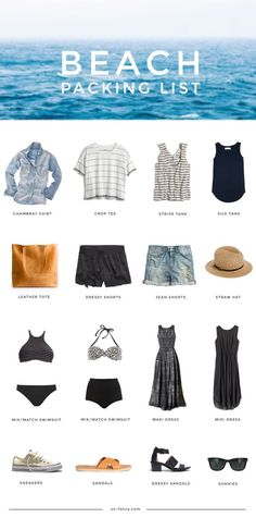 Take a look at the best weekend beach packing list and outfit ideas in the photos below and get ideas for your own amazing vacation outfits! The Essential Weekend Beach Packing List Image source Mexico Vacation Outfits, Beach Outfits Women Vacation, Beach Travel Outfit, Beach Vacation Clothes, Beach Wear For Women Outfits, Beach Clothes, Beach Vacation Wardrobe, Beach Holiday Outfits, Cancun Outfits