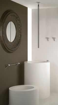 Ceiling-mount contemporary Ovale lav faucet from Gessi