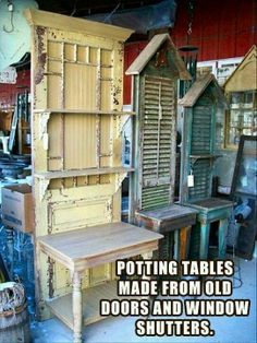 Cant wait to find an old door. I already plan on making a potting area in Wisconsin. diy garden decor | DIY Garden Decor / .