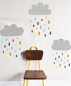2 Clouds - 24w x 14h 1 Cloud - 20w x 12h 50 Raindrops - 1.5h - 3.5h  Cloud color Is the the color choice below. -100% polyester fabric self
