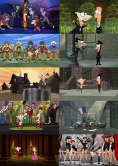 Phineas & Ferb's interpretation of classic musicals This is soo funny!  There's Cats, Phantom of the Opera, Oklahoma!, Singing In the Rain, Fiddler on the Roof, West Side Story, Music Man, Les Miserables, The King and I, and Chorus Line!