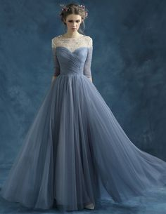 2015 Shoulders Beading Transparent Scoop Neckline Ink Blue Chiffon Evening Dress [3115050011] - Veaul.com