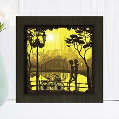 Love in the park square Paper cut light box template shadow | Etsy Shadow Light Box, Shadow Box Art, Shadow Box Frames, Paper Box Template, Art Template, Frame Crafts, Craft Frames, Paper Light, Shadow Puppets