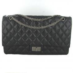 CHANEL VERY LARGE 255 (34CM) BLACK LEATHER ANTIQUE SILVER
