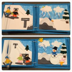 Finally completed Hugo's quiet book! - Eighth and Ninth pages; a day at the snow Zipper skier Moving snowboarders Peek-a-boo sun Create a snow man