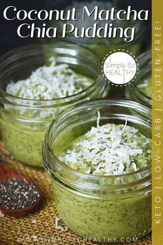 This recipe for Coconut Matcha Chia Pudding makes an easy breakfast or snack with notes of green tea and coconut. I like to make this recipe in the evening so I have breakfast ready the next morning. 😋🍨🍵 #lowcarb #keto #diabetic #Atkins #glutenfree #grainfree #Bantingdiets #paleo #ketopudding #ketodesseert #lowcarbsweets #lowcarbdessert Keto Pudding, Pudding Recipes, Mint Recipes, Coconut Recipes, Brunch Recipes, Keto Recipes, Breakfast Recipes, Healthy Meals For Kids, Good Healthy Recipes