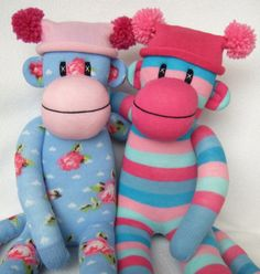 shabby chic rose sock monkey and pink and blue stripe sock monkey (by sunsetgirl creations)