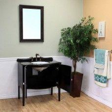 Bath> Vanities: 36.6 in Single sink vanity-wood-black