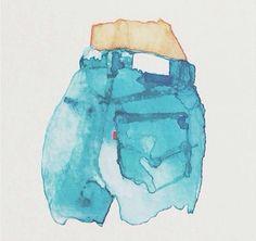 art   watercolor denim