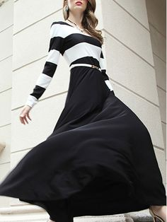 #StyleWe Shop Diff�rentes Dresses - Black Printed Stripes Long Sleeve Maxi Dress online. Discover unique designers fashion at AdoreWe.net.