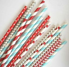 Red and Light Blue Sock Monkey theme Paper straws // 4th of July party supplies by TheSimplyChicShop, $4.00