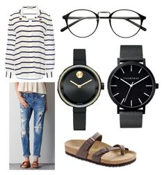 """Stripes"" by jessica-runkle on Polyvore featuring American Eagle Outfitters, Birkenstock, Preen, The Horse and Movado"