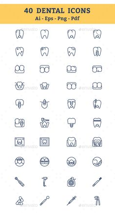 Buy Dental Icons by mousar on GraphicRiver. Dental Icons 40 DENTAL ICONS SET These resizable Icons are perfect for web, banners, advertising, any print template . Dental Clinic Logo, Dentist Logo, Dental Business Cards, Dental World, Affordable Dental, Dental Facts, Dental Office Design, Clinic Design, Dental Assistant