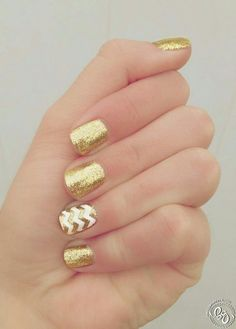 Gold Glitter Nails with White Chevron Accent