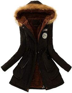 YunYoud Damen Warm Große Größe Mantel Frau Winter Lange Mit Kapuze Jacke  Slim Fit Lange Ärmel a207e23abb
