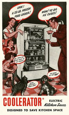 There's something for everyone - even Mittens and Rover - to love about this 1948 Cooleratror fridge.