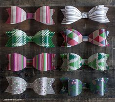 Use the printable template with any patterned paper to create adorable bows for Christmas gift wrapping! Christmas Gift Wrapping, Christmas Paper, Christmas Projects, Holiday Crafts, Christmas Holidays, Christmas Packages, Christmas Patterns, Christmas Bows, Christmas Photos