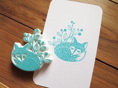 Apu handmade rubber stamp fox stamp sleep