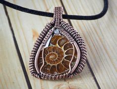 Ammonite Heady Wire Wrapped  Pendant Ammonite Copper Pendant