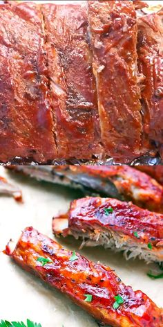 Oven Baked St Louis Style Ribs Recipe Learn how to make the perfect St. Oven Baked St Louis Style Ribs Recipe – made in the oven, covered in bbq sauce, these ribs are so tender, stic Easy Oven Baked Ribs, Oven Pork Ribs, Ribs Recipe Oven, Baked Bbq Ribs, Barbecue Pork Ribs, Ribs On Grill, Oven Roasted Ribs, Pork Loin Back Ribs, Sticky Pork Ribs